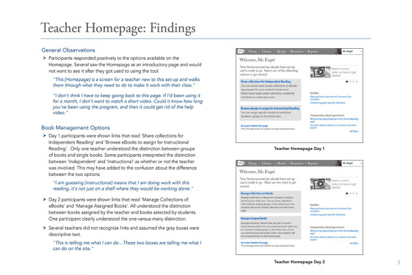 3. Teacher Homepage Findings 1